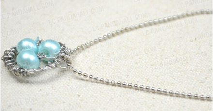 How to Make a Simple Long Twisted Pearl Necklace with Silver Copper Wire and Ball Chain
