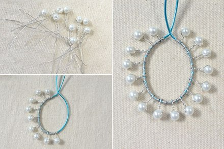 How to Make a Silver Chain Necklace with Turquoise Pendant and White Pearls 2600400
