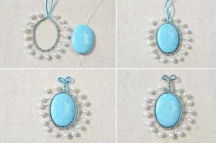 How to Make a Silver Chain Necklace with Turquoise Pendant and White Pearls 3600400