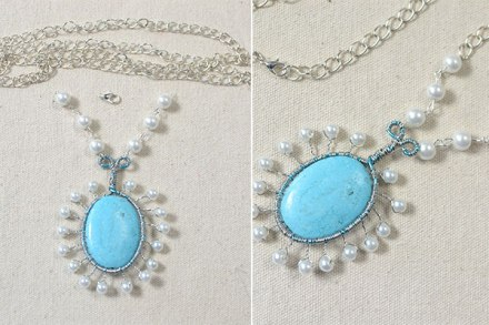How to Make a Silver Chain Necklace with Turquoise Pendant and White Pearls 5600400